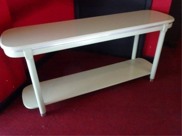 MID CENTURY MODERN CONSOLE TABLE, 2 TIERS, METAL ACCENT