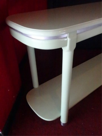 MID CENTURY MODERN CONSOLE TABLE, 2 TIERS, METAL ACCENT - 2