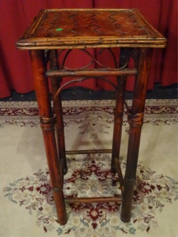 BAMBOO AND WOOD PEDESTAL, VERY GOOD GENTLY USED