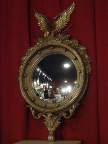 LARGE FEDERAL STYLE MIRROR, GOLD FINISH COMPOSITE FRAME