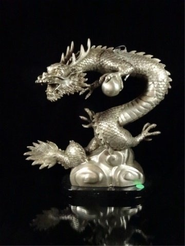 PATINATED BRONZE SCULPTURE, SILVER DRAGON, APPROX