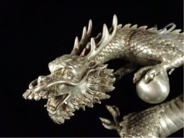 PATINATED BRONZE SCULPTURE, SILVER DRAGON, APPROX - 2