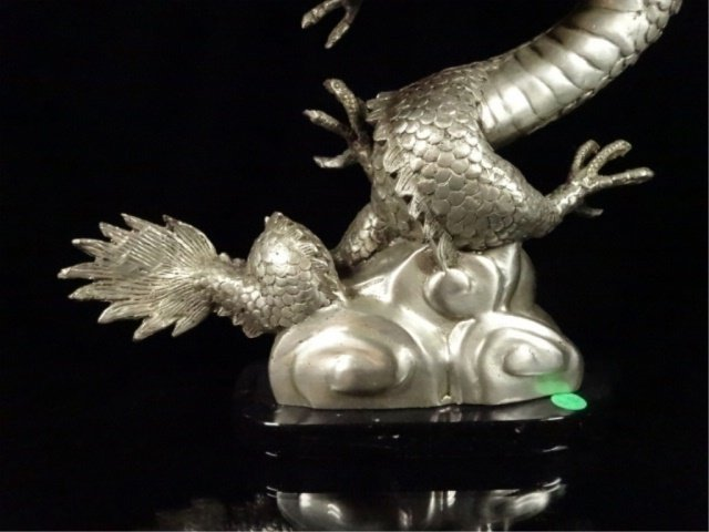PATINATED BRONZE SCULPTURE, SILVER DRAGON, APPROX - 3