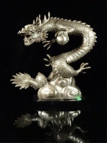 PATINATED BRONZE SCULPTURE, SILVER DRAGON, APPROX - 4