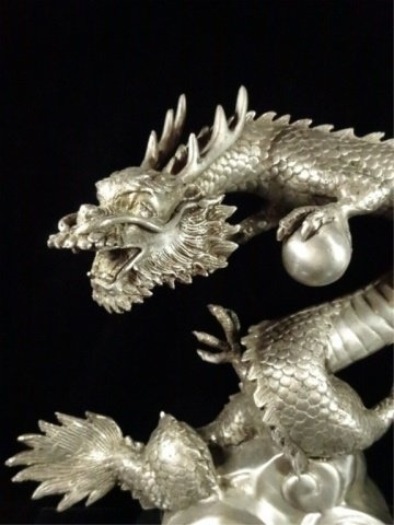 PATINATED BRONZE SCULPTURE, SILVER DRAGON, APPROX - 5