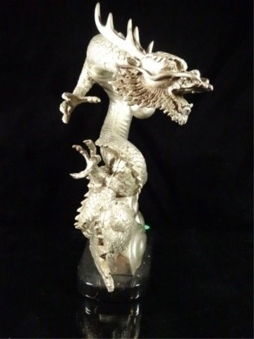 PATINATED BRONZE SCULPTURE, SILVER DRAGON, APPROX - 6