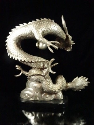 PATINATED BRONZE SCULPTURE, SILVER DRAGON, APPROX - 7