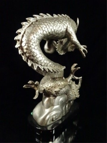 PATINATED BRONZE SCULPTURE, SILVER DRAGON, APPROX - 8