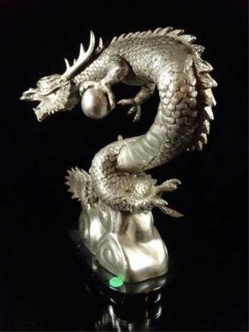 PATINATED BRONZE SCULPTURE, SILVER DRAGON, APPROX - 9