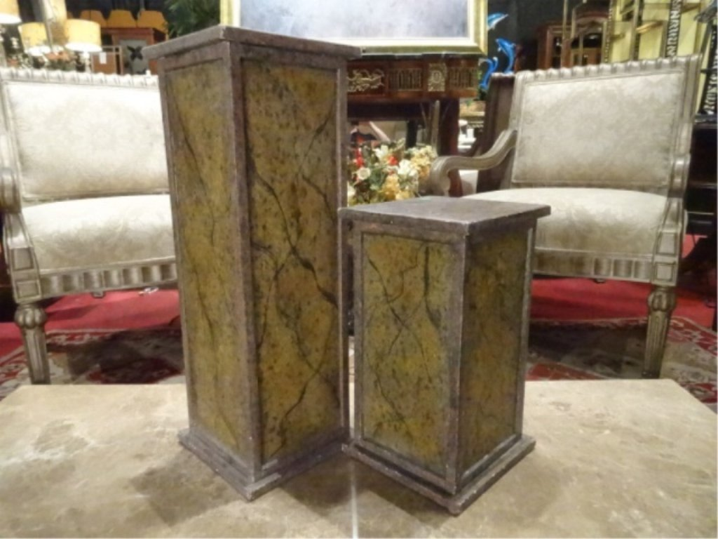 2 PAINTED WOOD PEDESTALS, GOOD CONDITION WITH LIGHT