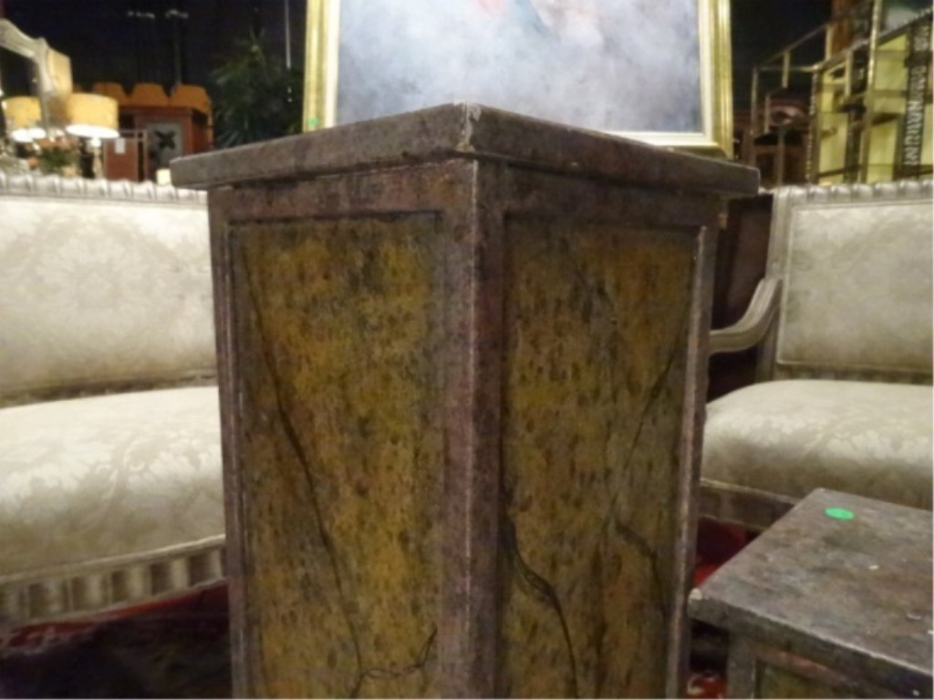 2 PAINTED WOOD PEDESTALS, GOOD CONDITION WITH LIGHT - 2