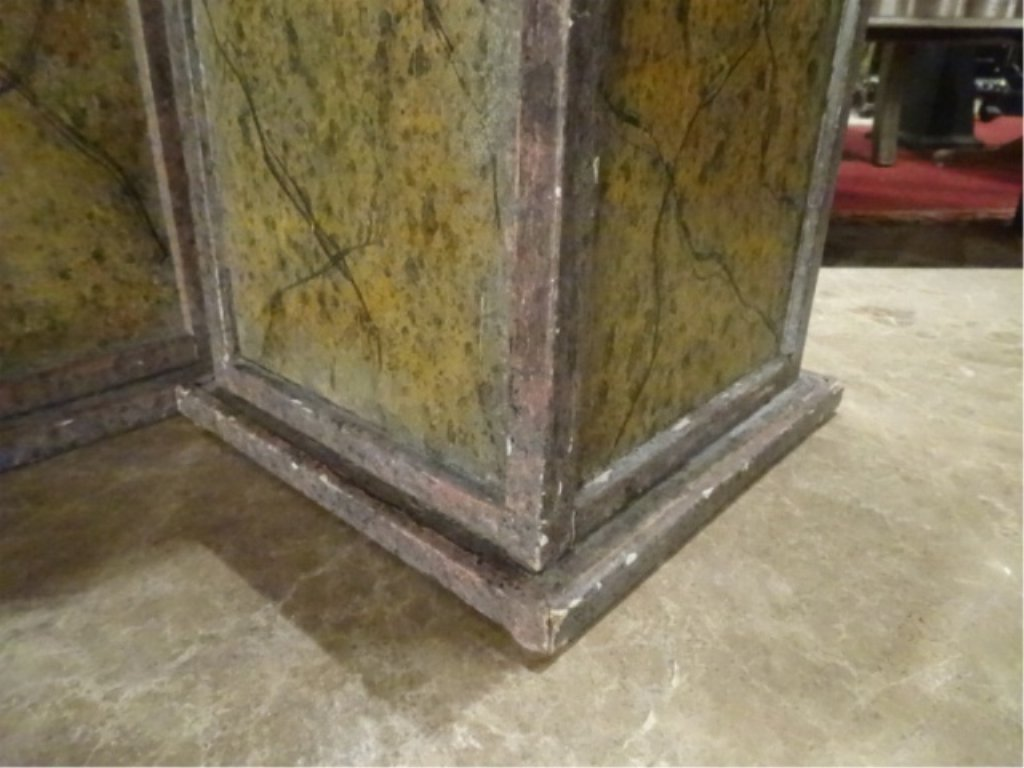 2 PAINTED WOOD PEDESTALS, GOOD CONDITION WITH LIGHT - 3