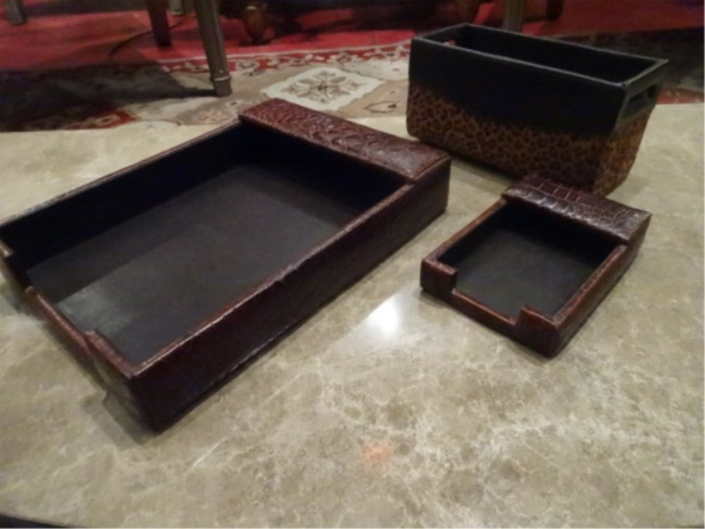 3 PC LEATHER DESK SET, LETTER AND NOTE HOLDERS, 2 HAVE