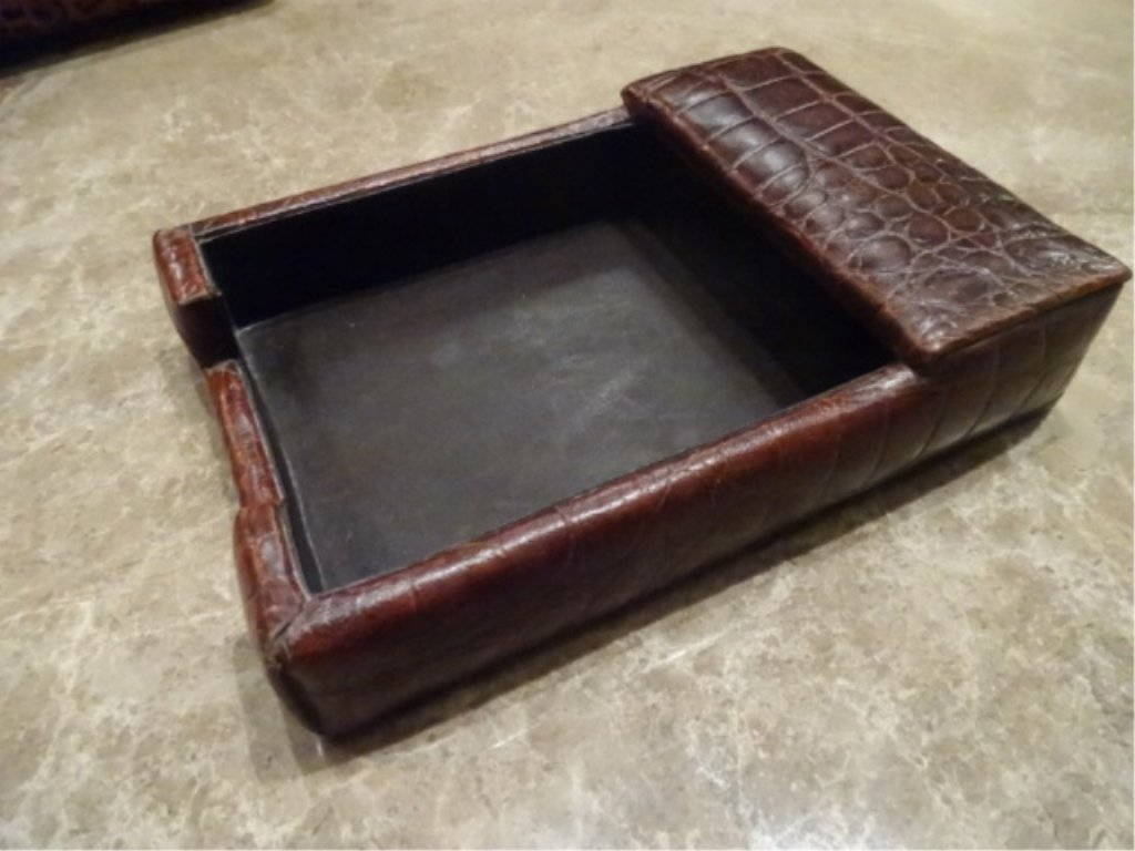 3 PC LEATHER DESK SET, LETTER AND NOTE HOLDERS, 2 HAVE - 4