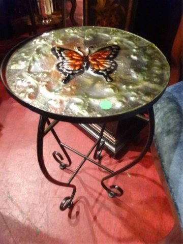 STAINED GLASS AND METAL TABLE WITH BUTTERFLY DESIGN,