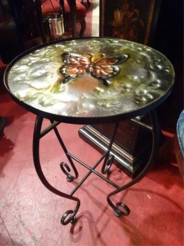 STAINED GLASS AND METAL TABLE WITH BUTTERFLY DESIGN, - 2