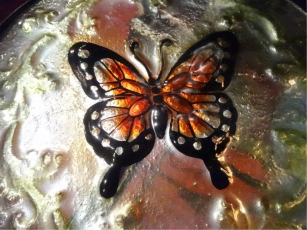 STAINED GLASS AND METAL TABLE WITH BUTTERFLY DESIGN, - 5