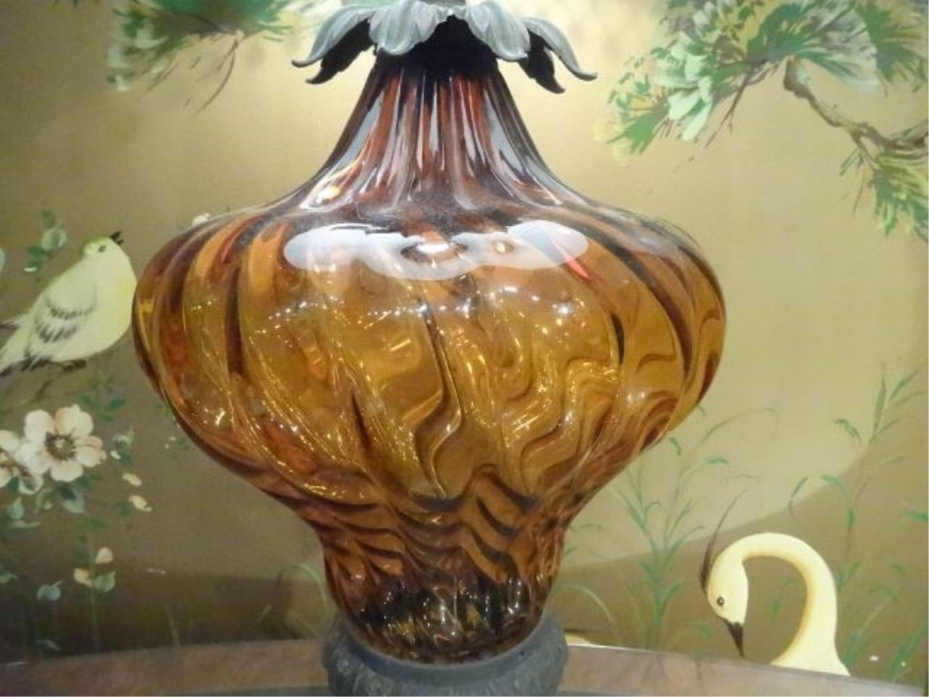 METAL AMBER GLASS TABLE LAMP, METAL BASE, VERY GOOD - 4