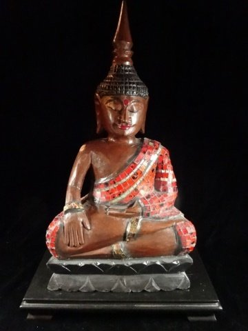 ASIAN CARVED WOOD BUDDHA WITH APPLIED RED TILES, VERY