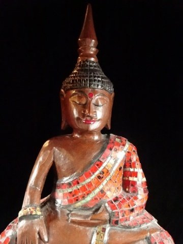 ASIAN CARVED WOOD BUDDHA WITH APPLIED RED TILES, VERY - 3