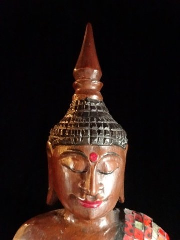 ASIAN CARVED WOOD BUDDHA WITH APPLIED RED TILES, VERY - 5