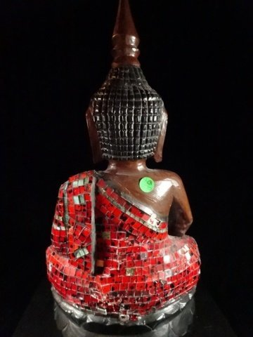 ASIAN CARVED WOOD BUDDHA WITH APPLIED RED TILES, VERY - 6