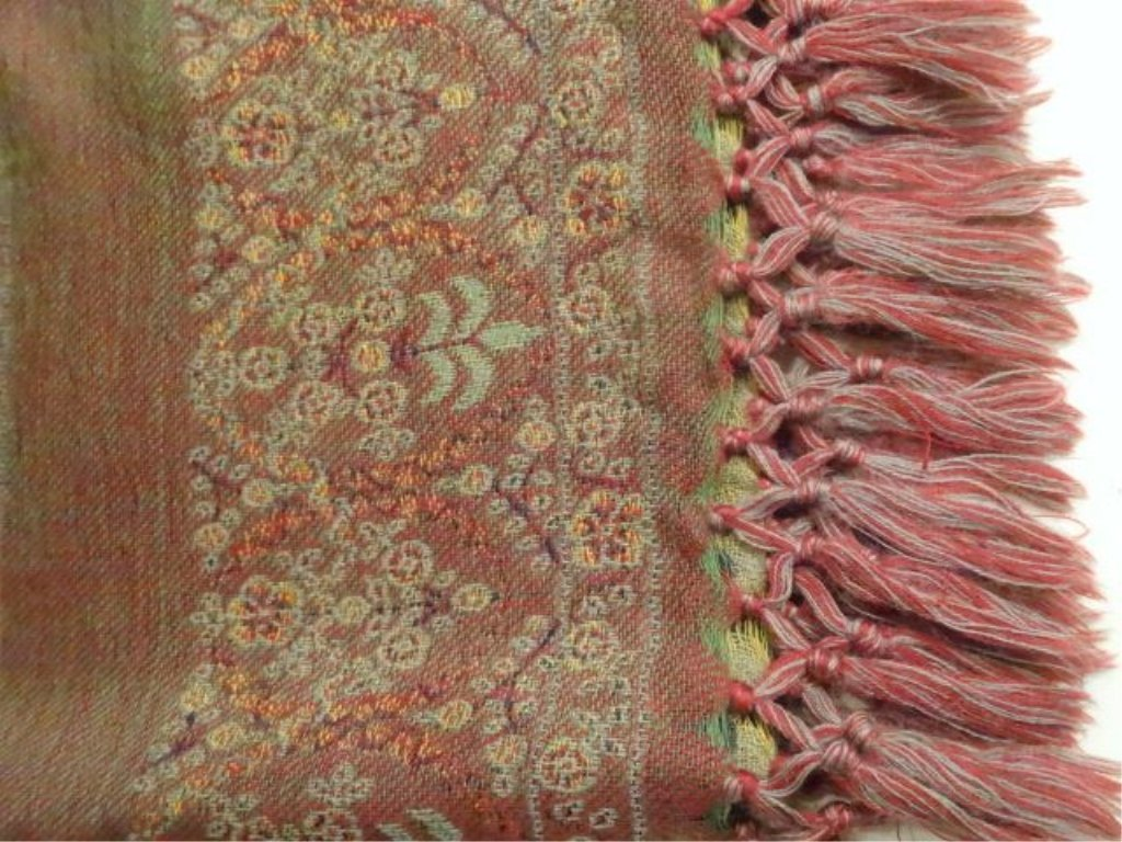 TWO 100% SOFT NEW WOOL THROWS, PAPRIKA, GREEN, AND GOLD - 4