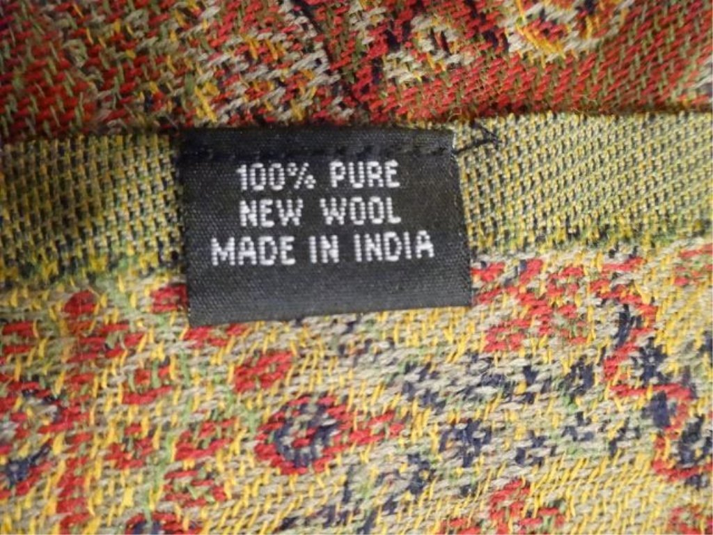 TWO 100% SOFT NEW WOOL THROWS, PAPRIKA, GREEN, AND GOLD - 5