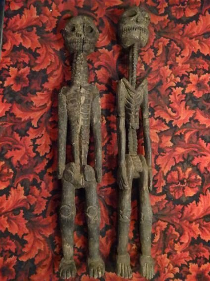 2 LARGE CARVED WOOD SKELETON FIGURES, NATURAL AGE