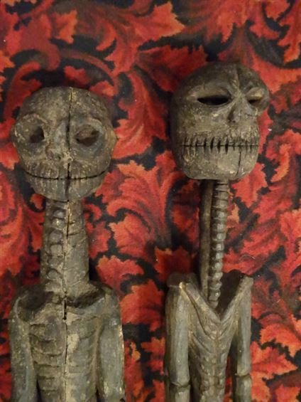 2 LARGE CARVED WOOD SKELETON FIGURES, NATURAL AGE - 2