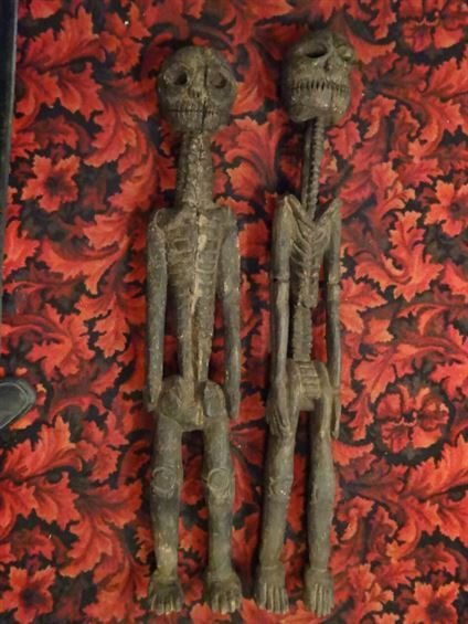 2 LARGE CARVED WOOD SKELETON FIGURES, NATURAL AGE - 8