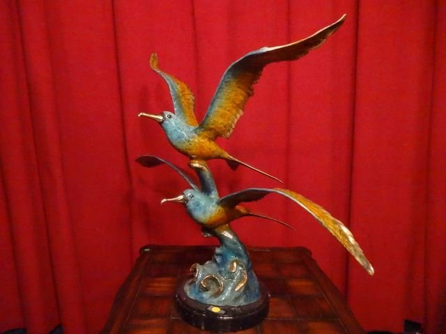LARGE PATINATED BRONZE SCULPTURE, 2 SEAGULLS, ON MARBLE - 9