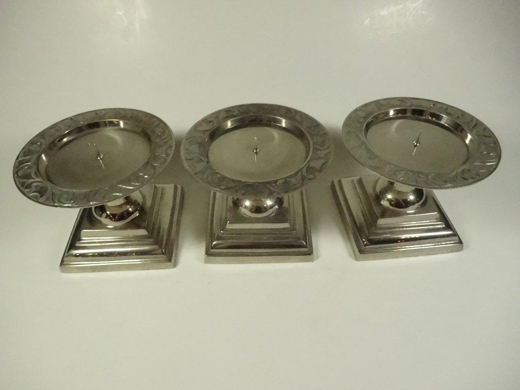 3 PC ALUMINUM FINISH METAL PILLAR CANDLE HOLDERS, - 2