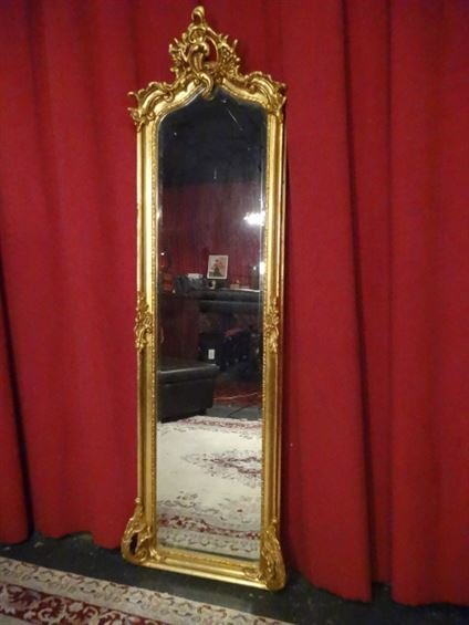 LARGE LOUIS XIV GOLD GILT WOOD MIRROR, #1 OF TWO