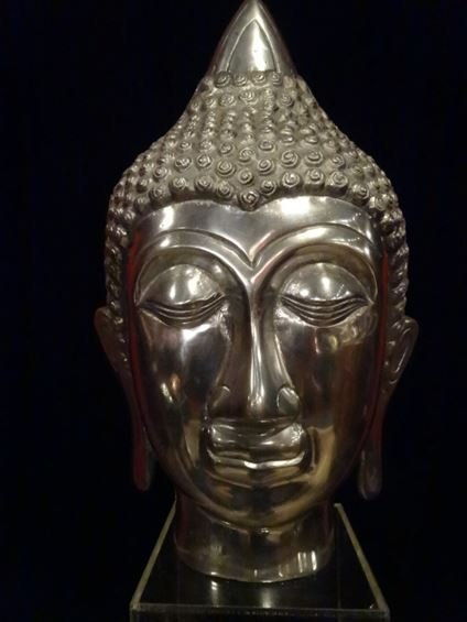 LARGE ALUMINUM BUDDHA HEAD SCULPTURE, #1 OF TWO