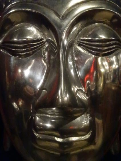 LARGE ALUMINUM BUDDHA HEAD SCULPTURE, #1 OF TWO - 3
