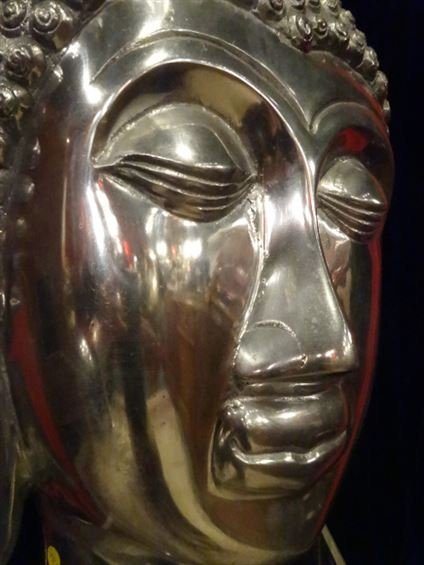 LARGE ALUMINUM BUDDHA HEAD SCULPTURE, #1 OF TWO - 5