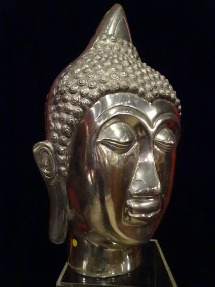 LARGE ALUMINUM BUDDHA HEAD SCULPTURE, #1 OF TWO - 6