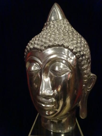 LARGE ALUMINUM BUDDHA HEAD SCULPTURE, #1 OF TWO - 7
