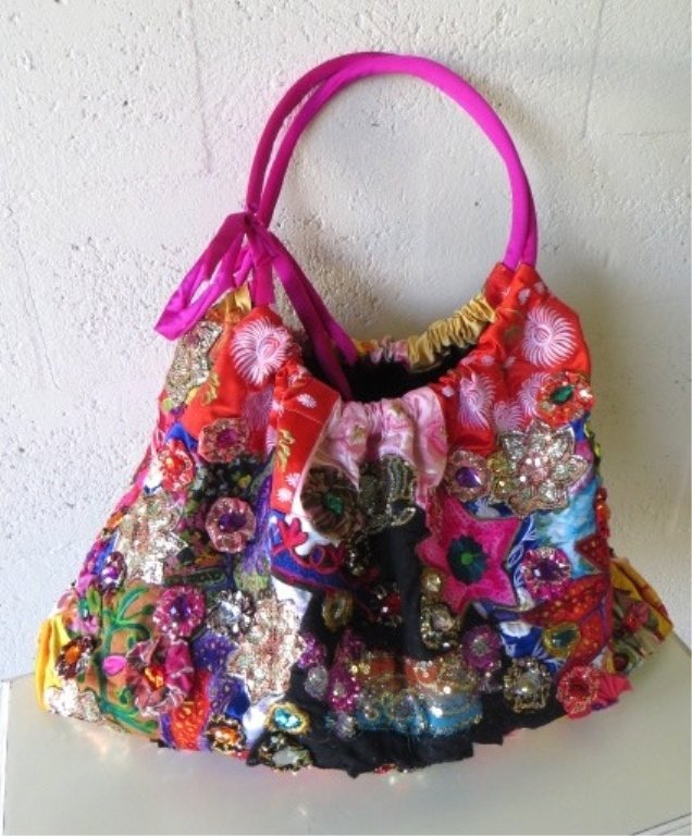 LARGE LOUIS ASSCHER HOBO TOTE BAG, ELABORATELY BEADED,