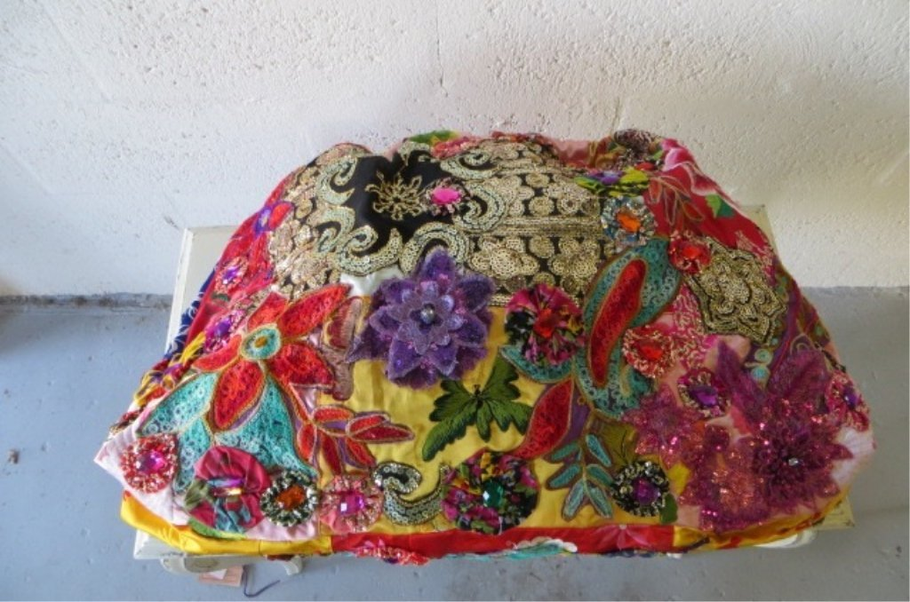LARGE LOUIS ASSCHER HOBO TOTE BAG, ELABORATELY BEADED, - 4