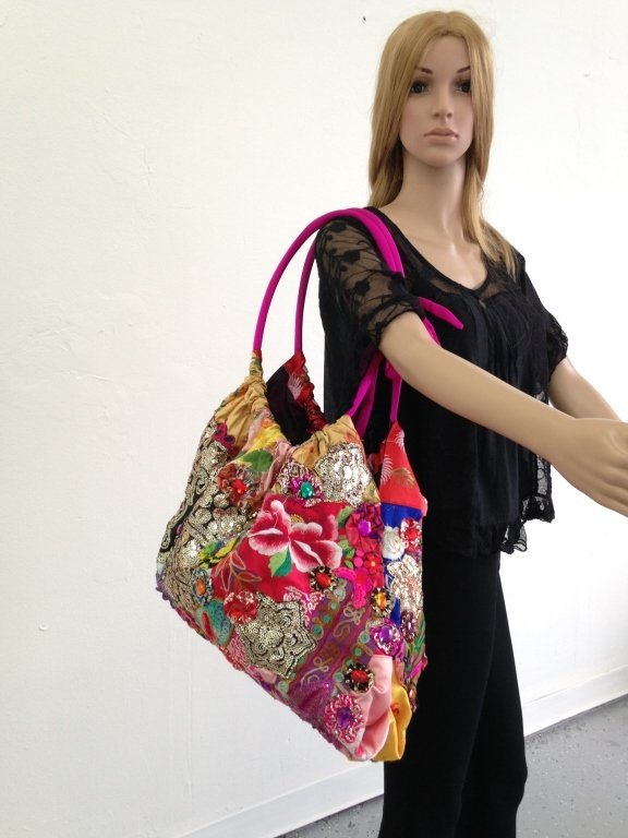LARGE LOUIS ASSCHER HOBO TOTE BAG, ELABORATELY BEADED, - 8