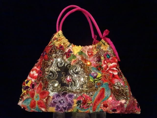 LARGE LOUIS ASSCHER HOBO TOTE BAG, ELABORATELY BEADED, - 9