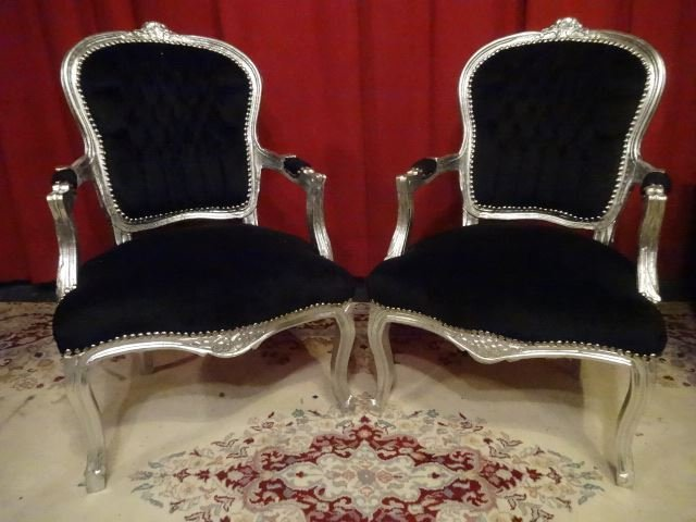 PAIR LOUIS XV STYLE FAUTEUIL ARM CHAIRS, SILVER GILT