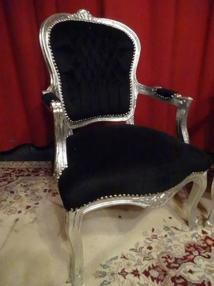 PAIR LOUIS XV STYLE FAUTEUIL ARM CHAIRS, SILVER GILT - 2
