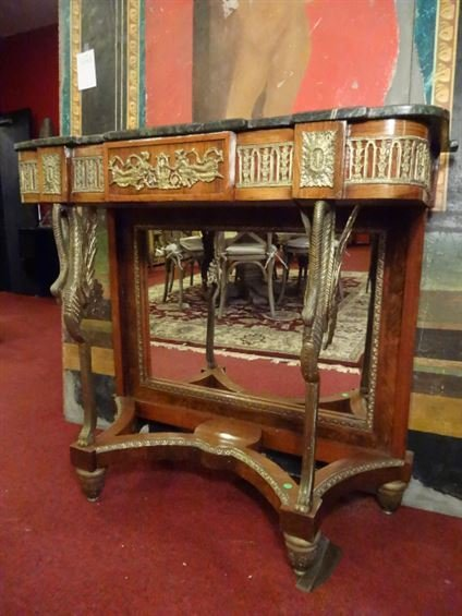 FRENCH EMPIRE STYLE CONSOLE, GILT METAL SWAN LEGS,