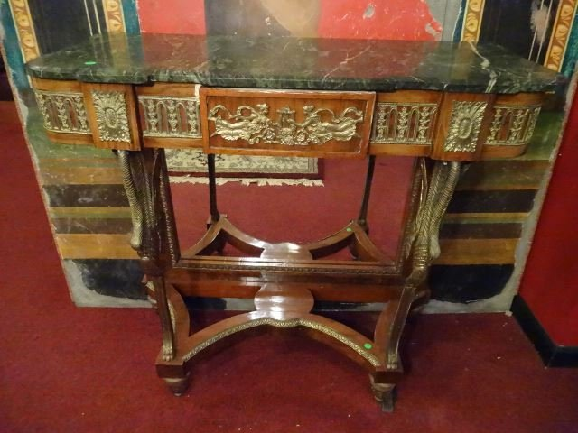 FRENCH EMPIRE STYLE CONSOLE, GILT METAL SWAN LEGS, - 2