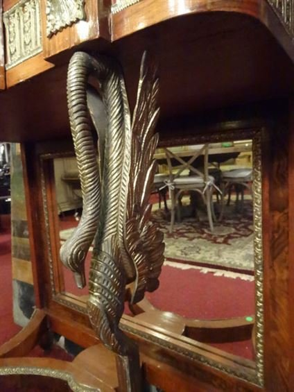 FRENCH EMPIRE STYLE CONSOLE, GILT METAL SWAN LEGS, - 4
