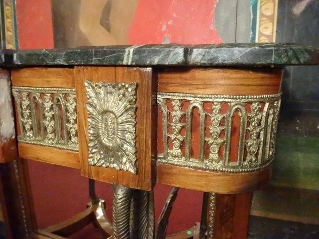 FRENCH EMPIRE STYLE CONSOLE, GILT METAL SWAN LEGS, - 8