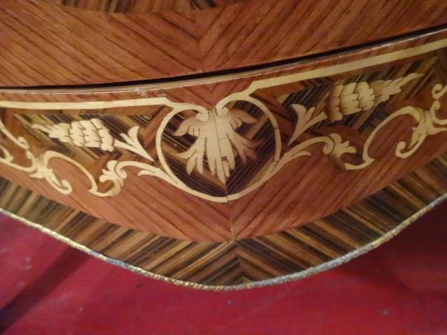 LOUIS XV STYLE MARQUETRY BOMBE CHEST, BEVELED MARBLE - 9